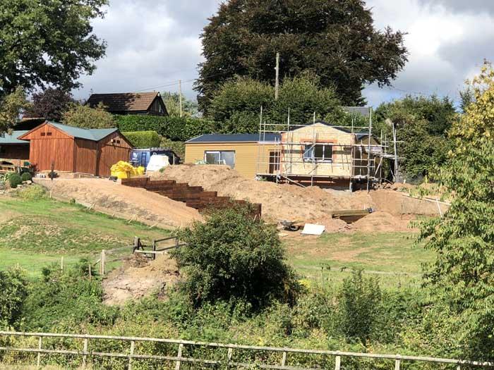 scaffolding around the new build facade